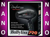 NEW BABYLISS PRO NANO TITANIUM BLACK DUAL VOLTAGE BAMBINO TRAVEL HAIR BLOW DRYER