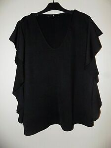 Black V Front Frill Sleeve Top Size Uk 18 From Very Worn Once