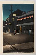 """Hasui Kawase Original Japanese Woodblock Print """"Evening at Soemoncho in Osaka"""""""