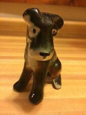 Schnauzer Dog Ceramic Nic Nac Glossy Black/Brown&White #416-1970s Collectible