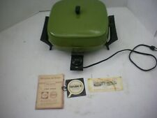Vintage Sears Buffet Server Avocado Electric Frying Pan Mid Century w/Papers