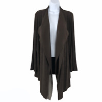 Chico's Travelers Open Cardigan Jacket Brown Slinky Women's Size 1