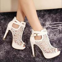 Women's Stiletto High Heel Open Toe Ankle Lace Boot Buckle Sandal Shoes Platform