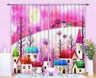 3D Pink House 2 Blockout Photo Curtain Printing Curtains Drapes Fabric Window AU