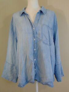Chicos Button Down Lyocell Denim Shirt Women's Size 4 XXL 20 Blue Collared Top
