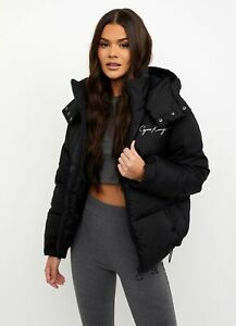 Gym King Womens Script Puffer Jacket - Black