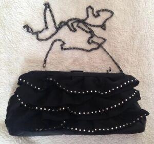 FAITH BLACK DIAMANTE CRYSTAL RUFFLE LAYER CLUTCH HANDBAG EVENING SHOULDER BAG