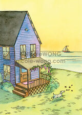 5x7 PRINT - Happy little home - landscape, cats, dogs, pets, animal, sailboat
