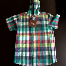 New Boys Tea Collection Dress Shirt Size 3 Cotton Checked Hoodie Shirt