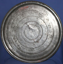 1928 Folk art hand made wrought tinned copper baking dish platter signed