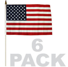 6 PACK LOT of 12x18 STICK FLAG American Flag USA ON A WOOD STICK f