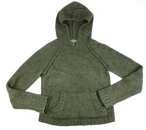 Abercrombie & Fitch Green Hooded Pullover Wool Blend Size Medium