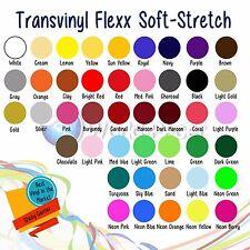 "Heat Transfer Iron On Vinyl 12"" X 15""  5 Rolls, Soft - Stretch Choose Colors"