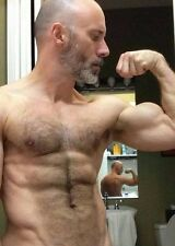 Shirtless Male Muscular Beefcake Older Hairy Chest Beard Flexing PHOTO 4X6 C1345