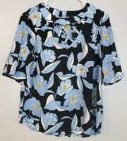 Lux II Women's Top Size Small S Blue Floral Short Sleeve Blouse Keyhole Back
