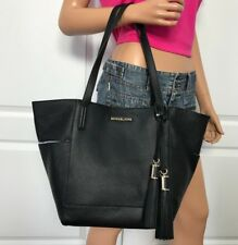 NWT Michael Kors Large Black Pebbled Leather Tote Bag Handbag Purse New $328