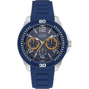 Orologio Uomo GUESS TREAD W0967G2 Multifunzione Silicone Blu Sub 100mt NEW