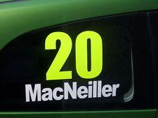 2x Rally Name/Number Fluorescent Stickers Race Rallycross motorsport race