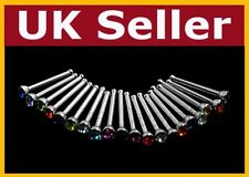 10 X Nose Stud Bar Steel Rhinestone Bone Bars Body Piercing Jewellery Makeup -uk