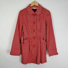 LAL Women's Red & White Print Button Down Coat