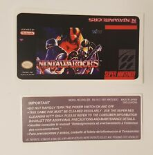 REPLACEMENT SNES CARTRIDGE STICKER LABELS FOR NINJA WARRIORS