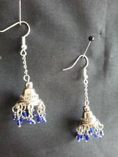 Beads Silver Plated Wires Earring New E410 Witches Bell Chandelier, Chain & Blue