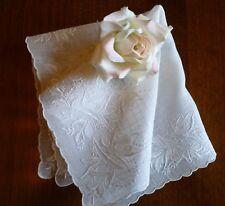Beautiful Vintage Wedding Hanky Elaborate Hand Embroidery