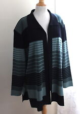 Exclusively Misook -Sz 2X Elegant Black & Blue Stripe Long Acrylic Knit Jacket
