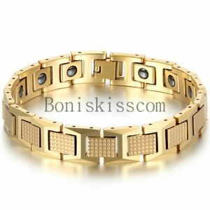 Mens Tungsten Carbide Golf Link Magnetic Therapy Elements Energy Health Bracelet