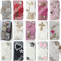 New Fancy Bling Rhinestone Wallet Flip PU Leather Phone Case Cover For iPhone