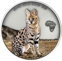 Ghana 5 Cedis 2019 Serval Silver Ounce Antique Finish Luchs in Farbe
