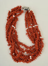 Coral Pearl Necklace 7 Strand Salmon Red Branch Sterling Silver Pave Clasp Art D