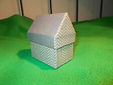 Handmade Gift box in a shape of house, grey and green 10cm tall strong cardboard