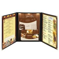 30 Menu Cover 8.5X11 6 View Triple Fold Double Stitch Trim Cafe Restaurant Black