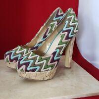 Diba Girl Multicolored Zig Zag High Heels Size 8.5