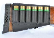 Shotgun Buttstock 6 Shell Holder Leather Cartridge 12 GA Black Ammo Rifle Retro