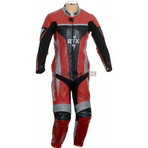 RTX Xtreme Red Pro 1 Piece Armoured Leather Motorcycle Suit Ideal for Track Day