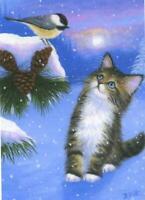 ACEO WHITE WINTER SNOW WHITE BUNNY RABBIT CHIPMUNK EVERGREEN TREE S/N L/E PRINT