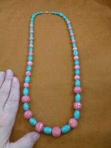 "(v465-6) 30"" long Pink Rhodochrosite gemstone + teal Turquoise beaded Necklace"