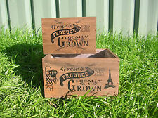 SET OF 2 FRESH PRODUCE DARK WOODEN COUNTRY CRATE BOX PLANTERS