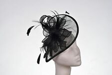 Black Hat Fascinator Disc Ascot Wedding Mother of the Bride Occasion