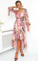IKRUSH Anya Printed Floaty Maxi Dress  PINK UK S/M