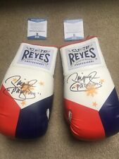Pair L&R Manny Pacquiao Signed Cleto Reyes Philippine Flag Boxing Glove BAS Auth