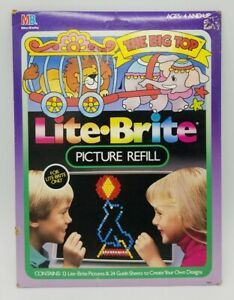 "Lite Brite ""The Big Top"" Picture Refill 1988 12 Circus Picture & 24 Guide Sheets"