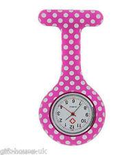 Lunares Patrón Enfermera Reloj Silicona Broche de Bolsillo con Batería Gratis