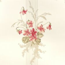 WAVERLY York Wallpaper NEW $28 per DBL ROLL Stripe Floral Bouquet Pink Red Taupe