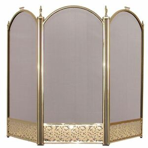 Ingleton Fire Guard 3 Panel Brass Cover Shield Protector Guard Fireplace