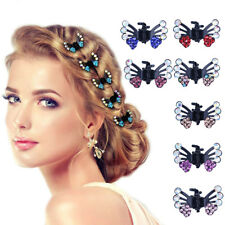 6pcs Bridal Mini Hair Clips Clamp Butterfly Claw Diamante Crystal Prom Princess