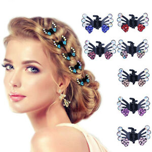 6PCS Mini Hair Clips Clamp Butterfly Claw Diamante Crystals Prom Princess Party