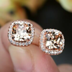Luxury Colourful Cushion CZ Rose Gold Plated Stud Earrings for Women Girl